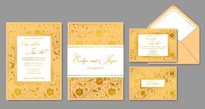 En épousant invitez, enveloppe, rsvp, carte de vacances, signe Conception avec Photos stock