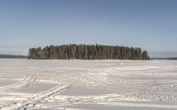 En ö i den dolda sjön för djupfryst snö Fotografering för Bildbyråer