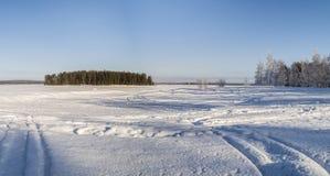 En ö i den dolda sjön för djupfryst snö Royaltyfria Bilder