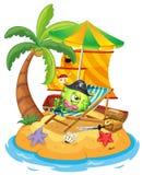 En ö med ett monster piratkopierar Arkivbild