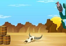 En öken med ett dött djur Arkivfoto