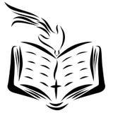 En öppen bibel, ett kors och en duva som stiger ned från himmel stock illustrationer