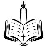 En öppen bibel med ett kors och en brinnande stearinljus royaltyfri illustrationer