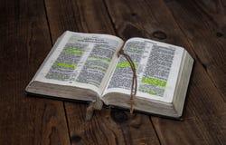 En öppen bibel och ett guld- kors på träbakgrund royaltyfri foto
