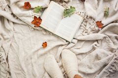 En öppen bok ligger på en beige ullpläd Närliggande är stupade sidor för höst från träd och ben med stack vita ullsockor royaltyfri bild
