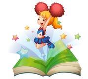 En öppen bok med en bild av en danshejaklacksledare Royaltyfri Fotografi