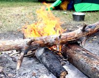 En öppen brand Arkivbild