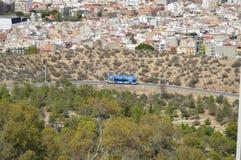 En öppen luft turnerar bussen i Spanien Royaltyfri Foto