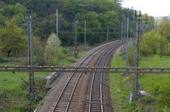 En överblick av järnvägen Arkivbilder