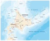 En översikt av den norr japanska ön Hokkaido stock illustrationer