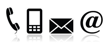 联络黑色图标设置了-移动电话,电话,电子邮件, en 免版税库存照片