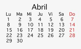 En abril de 2019 calendario de cepillado imágenes de archivo libres de regalías