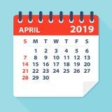En abril de 2019 hoja del calendario - ejemplo del vector stock de ilustración