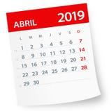 En abril de 2019 hoja del calendario - ejemplo del vector Versión española ilustración del vector