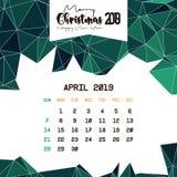 En abril de 2019 plantilla del calendario libre illustration