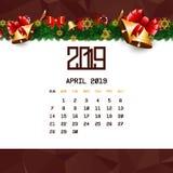 En abril de 2019 plantilla del calendario stock de ilustración