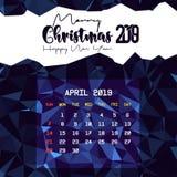 En abril de 2019 plantilla del calendario ilustración del vector