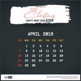 En abril de 2019 plantilla del calendario del A?o Nuevo Fondo del jefe del movimiento del cepillo stock de ilustración