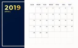 En abril de 2019 plantilla del horario La semana comienza en mes civil vacío de domingo libre illustration