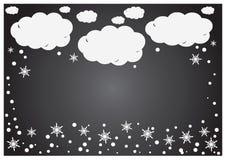 En abstrakt bakgrund av vitbok fördunklar med snöflingor över grå färger Royaltyfri Bild