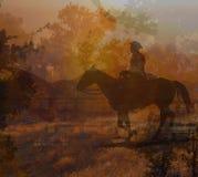 Cowboyridning på en hästdropp. Royaltyfri Fotografi
