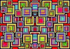 En abstrakt geometrisk bakgrund av kulöra fyrkanter Arkivfoto
