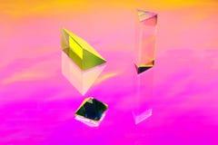 En abstrakt installation med crystal geometriska former Fotografering för Bildbyråer