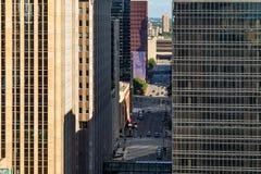 En abstrakt sikt av stadsarkitekturen av Minneapolis, USA Arkivfoto