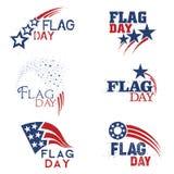 En abstrakt uppsättning av Amerikas förenta staterflaggmärkesdagstöd för minnet i röd vit och blått royaltyfri illustrationer