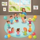 En actividad del profesor y de los niños de la sala de clase en la guardería Diseño del vector stock de ilustración