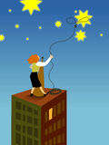 En affärskvinna som lassoing en stjärna Vektor Illustrationer