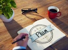 En affärsman Brainstorming About Planning Arkivfoton
