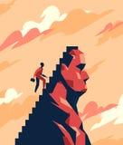En affärsman klättrar trappan in mot maximumet Arkivbild