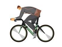 En affärsman, en man i en affärsdräkt som rider en cykel Plan vektorillustration som isoleras på vit bakgrund stock illustrationer