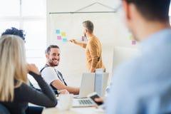 En affärsman som ger en presentation till kollegor i ett modernt kontor royaltyfria bilder