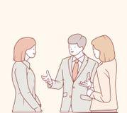 En affärsman talar med hans kollega vektor illustrationer