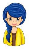 En affärssymbol med ett långt blått hår Arkivbild