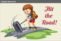 En affisch av en pojke som slår vägen stock illustrationer