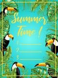 En affisch med bilden av tukan och tropiska sidor unga vuxen m?nniska planner Modell royaltyfri illustrationer