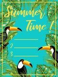 En affisch med bilden av tukan och tropiska sidor unga vuxen m?nniska planner royaltyfri illustrationer