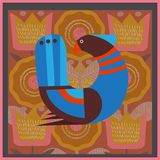 En affisch med en fantastisk fågel i en skandinavisk stil, en tradit Royaltyfria Bilder