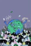 En affisch med planetjorden bland avfallet Inskrifthj?lp bl? vektor f?r sky f?r oklarhetsbildregnb?ge stock illustrationer