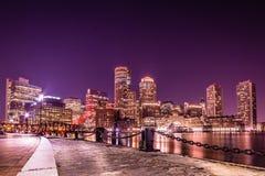 En afton i Boston Arkivbilder