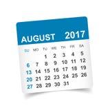 En agosto de 2017 calendario Fotografía de archivo