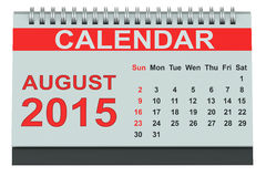 En agosto de 2015 calendario de escritorio Fotografía de archivo