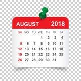 En agosto de 2018 calendario Plantilla del diseño de la etiqueta engomada del calendario Sta de la semana ilustración del vector