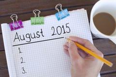 En agosto de 2015 fondo del concepto del plan Imagen de archivo libre de regalías