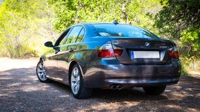 En agosto de 2017: Grafito chispeante de la serie E90 330i de BMW 3 Fotografía de archivo