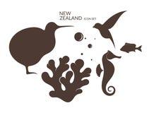 En alguna parte en Nueva Zelandia Sistema del icono Foto de archivo