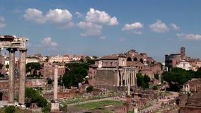 En allmän sikt av fördärvar av Roman Forum stock video